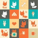 Grupo de ícones coloridos da raposa Imagem de Stock Royalty Free
