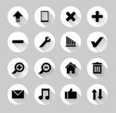 Grupo de ícones coloridos da Web com sombras longas Imagens de Stock Royalty Free
