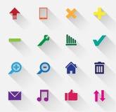 Grupo de ícones coloridos da Web com sombras longas Foto de Stock Royalty Free