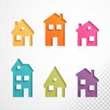 Grupo de ícones coloridos das casas Fotografia de Stock Royalty Free