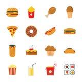 Grupo de ícones coloridos do fast food do projeto do plano/desenhos animados ajustados ilustração do vetor