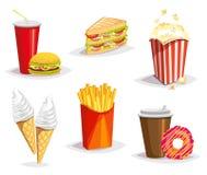 Grupo de ícones coloridos do fast food dos desenhos animados no fundo branco Ilustração isolada do vetor Fotos de Stock Royalty Free