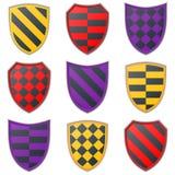 Grupo de ícones coloridos do protetor em um fundo branco Fotografia de Stock
