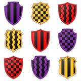 Grupo de ícones coloridos do protetor em um fundo branco Imagens de Stock Royalty Free