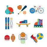 Grupo de ícones coloridos dos esportes do vetor no estilo liso Foto de Stock