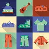 Grupo de ícones coloridos lisos da caminhada, trekking e acampar ilustração stock