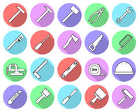 Grupo de ícones coloridos lisos da ferramenta do reparo Fotografia de Stock Royalty Free
