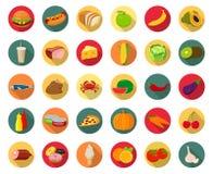 Grupo de ícones com alimento e de bebidas para o restaurante ou o anúncio publicitário Foto de Stock Royalty Free