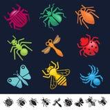 Grupo de ícones com silhuetas dos insetos Fotografia de Stock Royalty Free