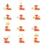 Grupo de ícones com uma raposa vermelha Ilustração Stock