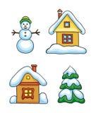 Grupo de ícones contornados do inverno ilustração royalty free