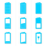 Grupo de ícones da bateria com nível diferente de carga Foto de Stock Royalty Free
