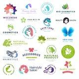Grupo de ícones da beleza e do conceito dos cosméticos ilustração stock
