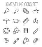 Grupo de ícones da carne na linha estilo fina moderna Foto de Stock