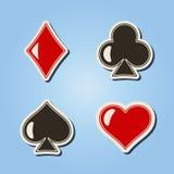 Grupo de ícones da cor com os ternos de cartões de jogo Fotos de Stock Royalty Free