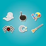 grupo de ícones da cor com símbolos de Dia das Bruxas Imagem de Stock Royalty Free