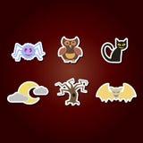 grupo de ícones da cor com símbolos de Dia das Bruxas Foto de Stock