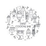 Grupo de ícones da cor de cocktail doces, sobremesas, gelado Fotografia de Stock