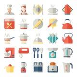 Grupo de ícones da cozinha no projeto liso Imagens de Stock Royalty Free