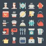 Grupo de ícones da cozinha no projeto liso Fotografia de Stock