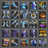 Grupo de ícones da decoração para jogos Coleção das armaduras medievais Foto de Stock Royalty Free