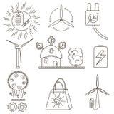 Grupo de ícones da energia alternativa e limpa Imagem de Stock Royalty Free