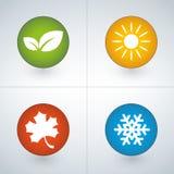 Grupo de ícones da estação em cores verdes, amarelas, vermelhas e azuis ilustração royalty free