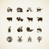Grupo de ícones da exploração agrícola Imagens de Stock Royalty Free