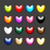 Grupo de ícones da forma do coração para seu projeto Fotografia de Stock Royalty Free