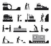 Grupo de ícones da indústria da construção civil do construtor Fotos de Stock