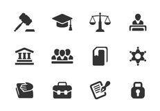 Grupo de ícones da lei e da justiça ilustração stock