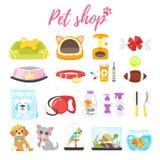 Grupo de ícones da loja de animais de estimação ilustração do vetor