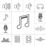 Grupo de ícones da música do esboço Ilustração linear do vetor Fotos de Stock Royalty Free