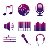 Grupo de ícones da música e das músicas Coleção moderna da gravação sonora brilhante do estúdio dos sinais Imagens de Stock