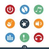 Grupo de ícones da música moderna e do entretenimento imagens de stock