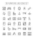 Grupo de ícones da mobília na linha estilo fina moderna Fotografia de Stock Royalty Free