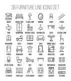Grupo de ícones da mobília na linha estilo fina moderna Imagens de Stock