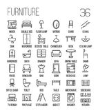 Grupo de ícones da mobília na linha estilo fina moderna Foto de Stock