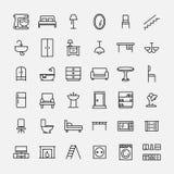 Grupo de ícones da mobília na linha estilo fina moderna Fotos de Stock