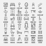 Grupo de ícones da mobília na linha estilo fina moderna Imagem de Stock