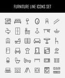 Grupo de ícones da mobília na linha estilo fina moderna Imagens de Stock Royalty Free