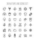 Grupo de ícones da natureza na linha estilo fina moderna Foto de Stock Royalty Free
