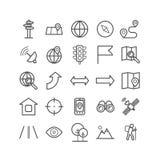 Grupo de ícones da navegação do esboço Ícones lineares para a cópia, Web, apps do mobila Foto de Stock