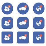 Grupo de ícones da notificação em um fundo azul Imagens de Stock