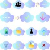 Grupo de ícones da nuvem Foto de Stock