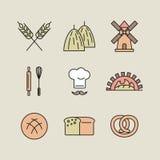 Grupo de 9 ícones da padaria feitos na linha estilo da arte Fotos de Stock Royalty Free