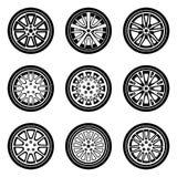 Grupo de ícones da roda de carro Pneumático e borda Vetor da silhueta Imagens de Stock Royalty Free