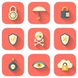 Grupo de ícones da segurança do App Imagem de Stock