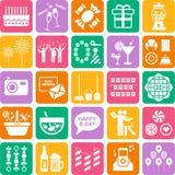 Grupo de ícones da Web do partido Fotos de Stock Royalty Free