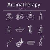 Grupo de ícones da Web para a aromaterapia Queimador de óleo, varas aromáticas, óleos do aroma, velas e outros acessórios para a  ilustração stock